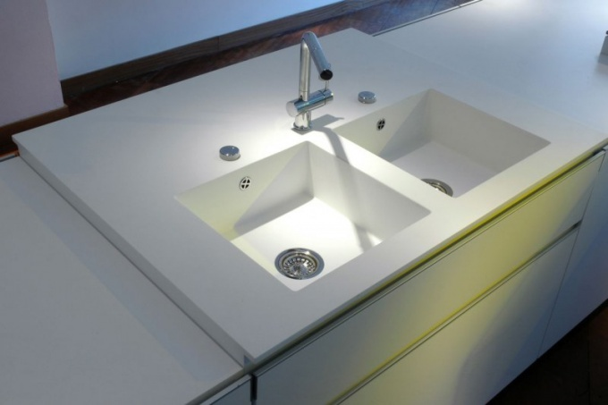 Acrylic stone - a great synthetic material for sinks and countertops.