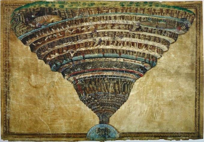Дантову аду художник Сандро Ботичелли посвятил одну из своих картин