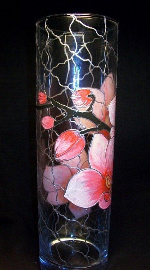 Как расписать вазу витражными красками