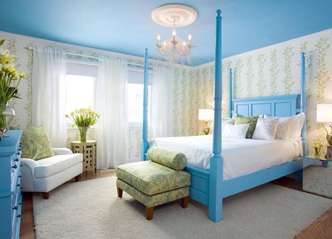 Интерьер спальни в голубом цвете - голубой цвет в интерьере спальни - Дизайн квартиры
