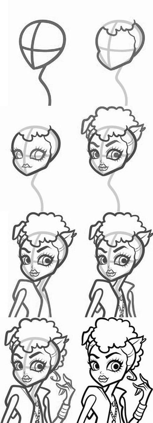 как нарисовать Венеру Макфлайтреп из Монстр Хай