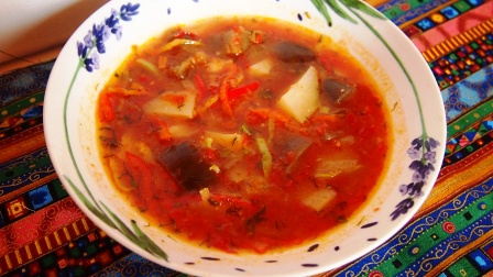 Как приготовить постный суп с баклажанами