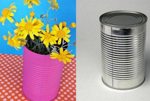 Как сделать вазу из жестяной банки