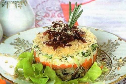 Картофельный салат со шпротами и маслинами