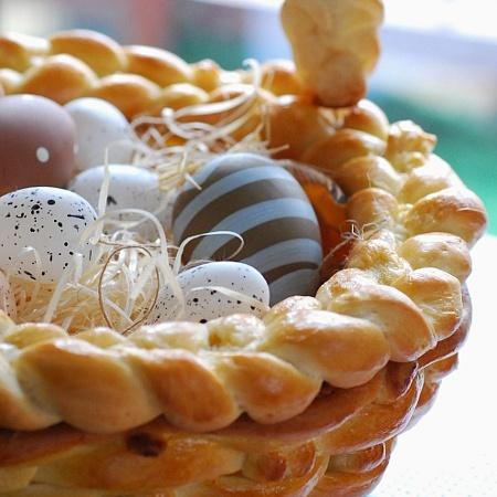 Корзинка из теста под пасхальные яйца