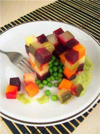 "Ещё один вариант салата ""кубик-рубик"" с сюрпризом"