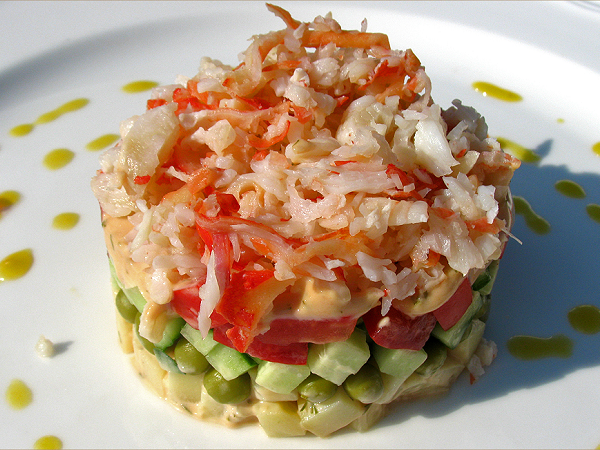 Recipes salad with natural crab meat