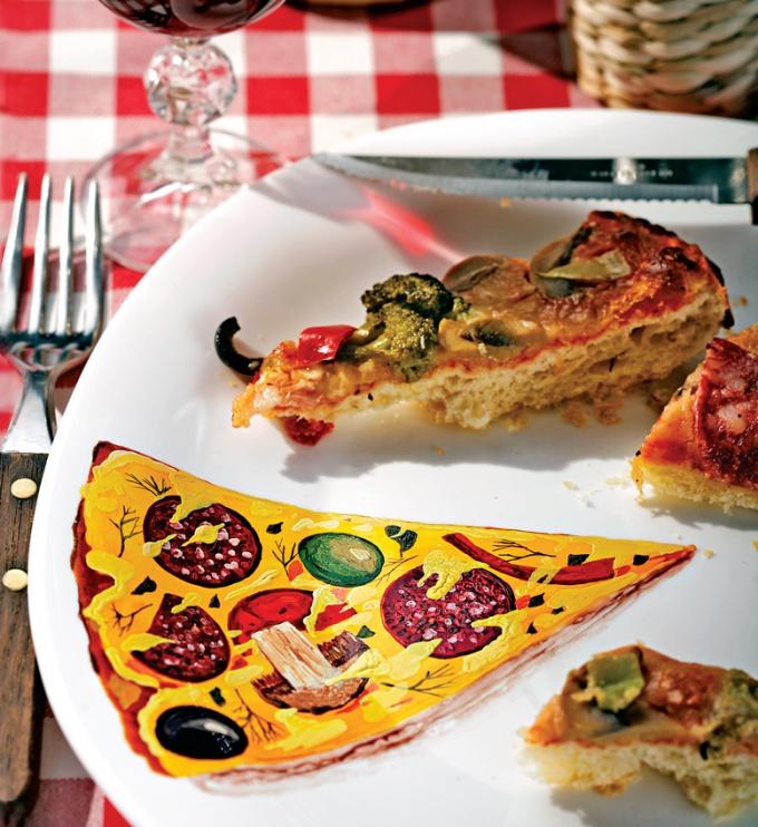"""Как украсить тарелку рисунком """"Пицца"""""""