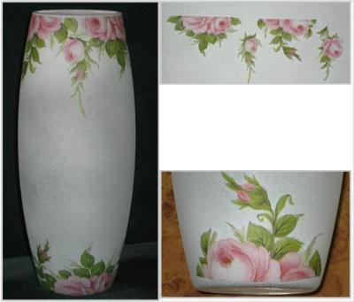 Оригинальная ваза для цветов с ниточным узором