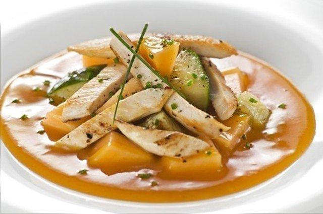 Куриный салат с дыней