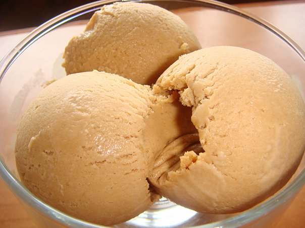 Homemade ice cream with cream and condensed milk