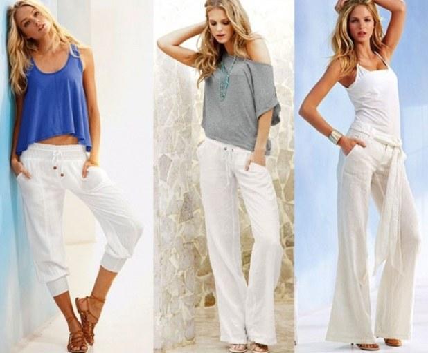 Как носить белые льняные брюки
