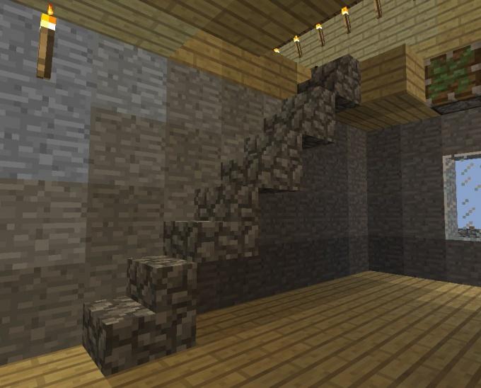 Пример ступенчатой лестницы в Майнкрафте