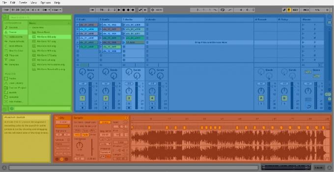 Блоки главного экрана Ableton Live 9