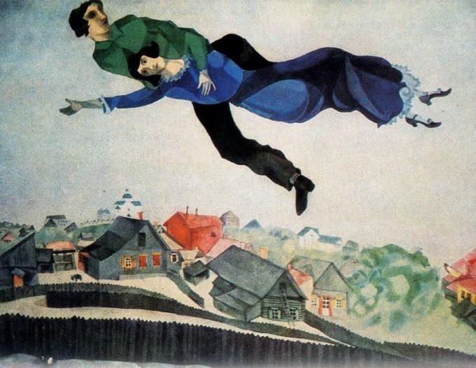 В картине «Над городом» Шагал отобразил свой излюбленный сюжет