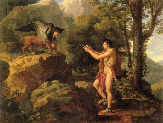Будущий царь Эдип отгадывает загадку сфинкса