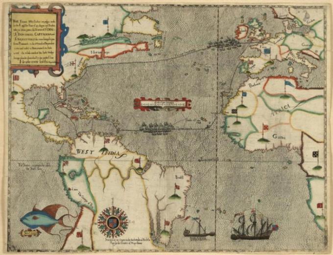 Карта походов Френсиса Дрейка