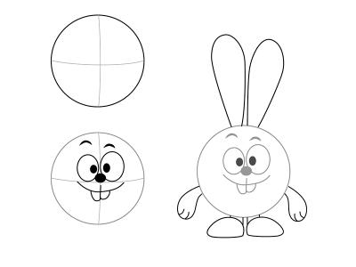 Как нарисовать зайчика поэтапно для детей легко