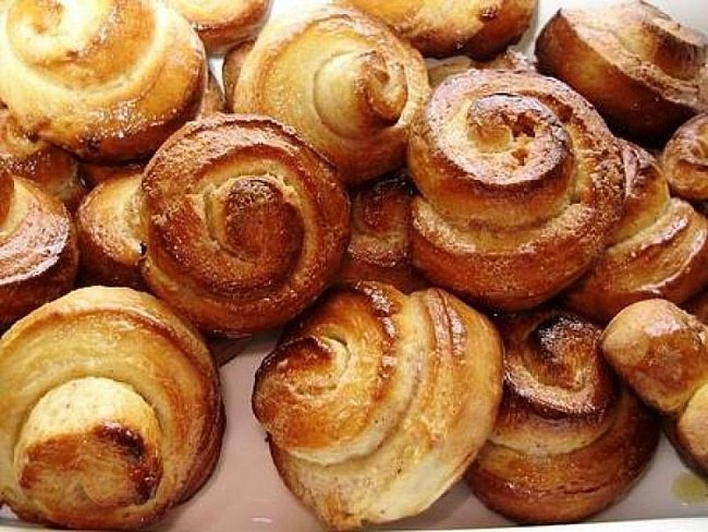 Rolls - pastries for tea, coffee, milk or compote