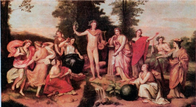 Apollo surrounded by the muses