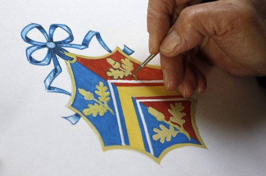Draw the coat of arms manually you can get help from familiar artists