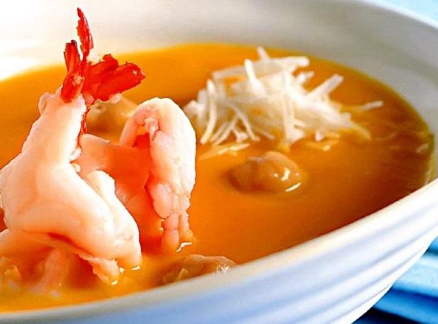 Суп с тыквой, нутом и креветками