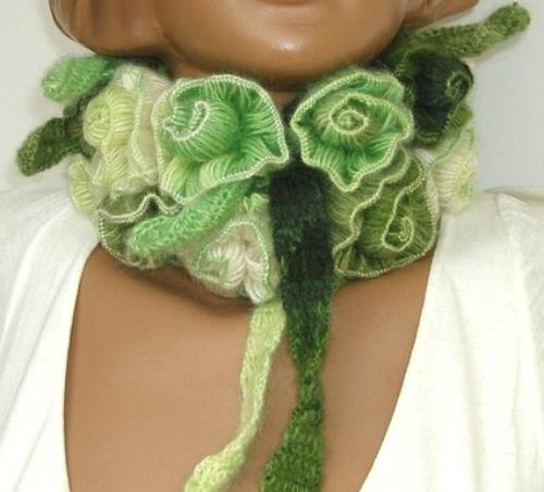 Как связать шарф из роз