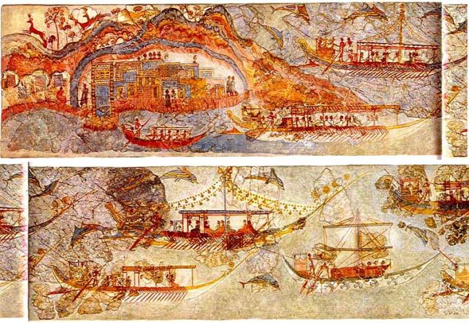 На фресках раскопок Акротири видны корабли минойцев