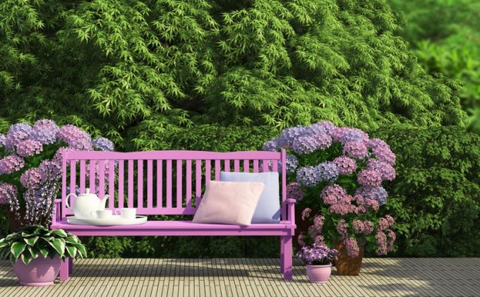 Скамейки с цветами