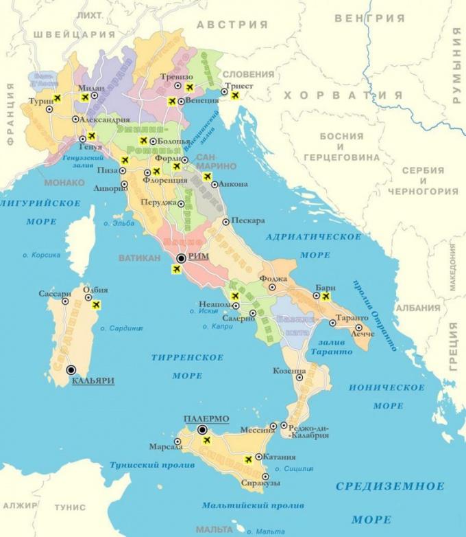 Карта Италии с разделением на области