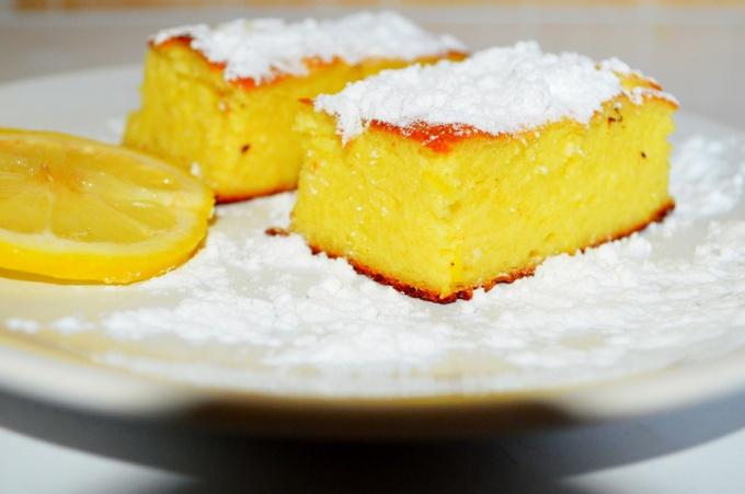 Лимонный пирог из творога