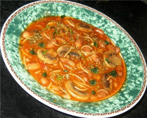 Суп с шампиньонами и фасолью