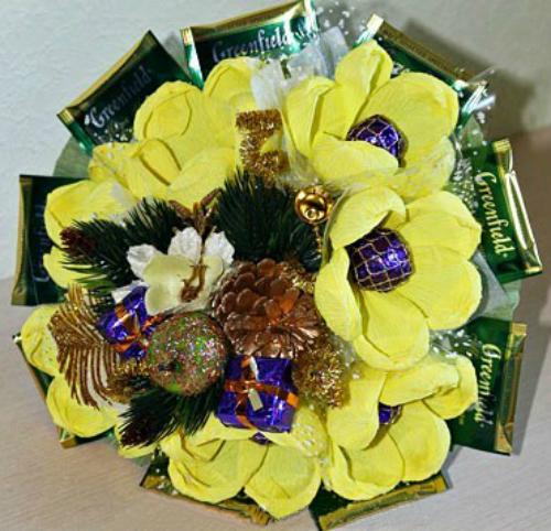 Букет из чайных пакетиков и конфет