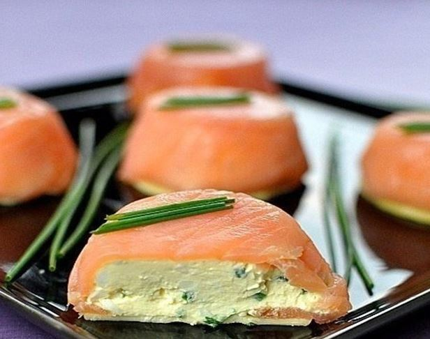 Appetizer of cheese and salmon