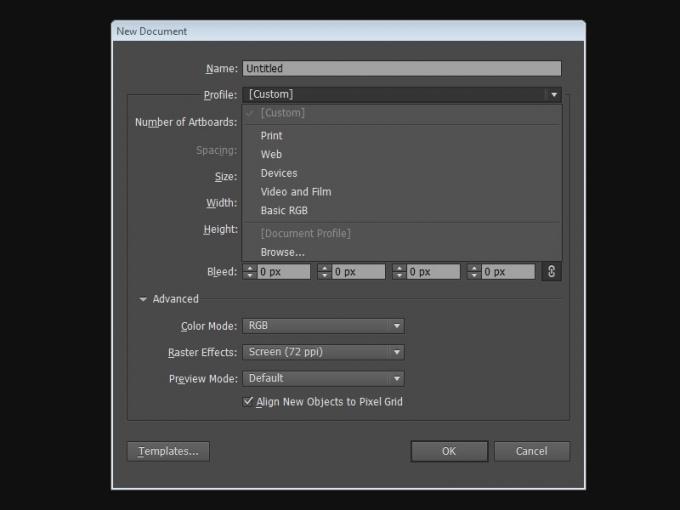 Профили документов в Adobe Illustrator