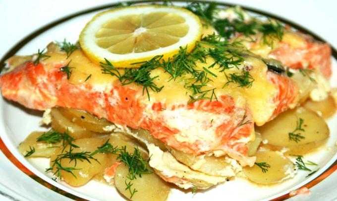 Вкусная рыба с картошкой
