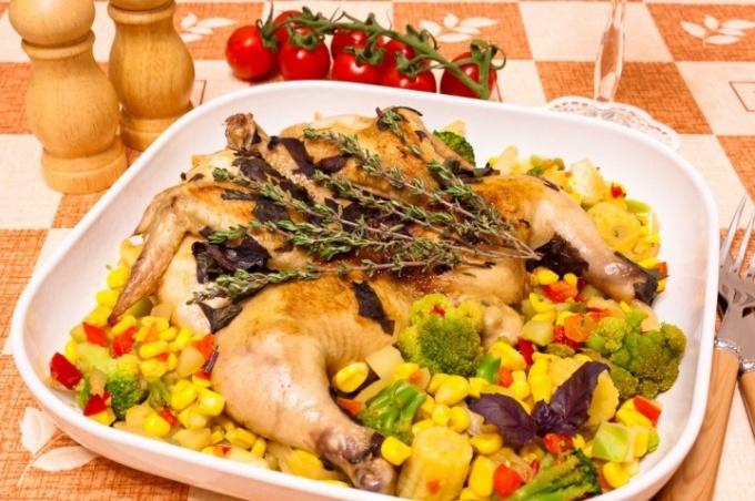 Цыпленок с травами в белом вине