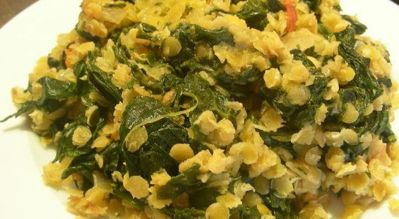 Как приготовить салат из чечевицы со шпинатом