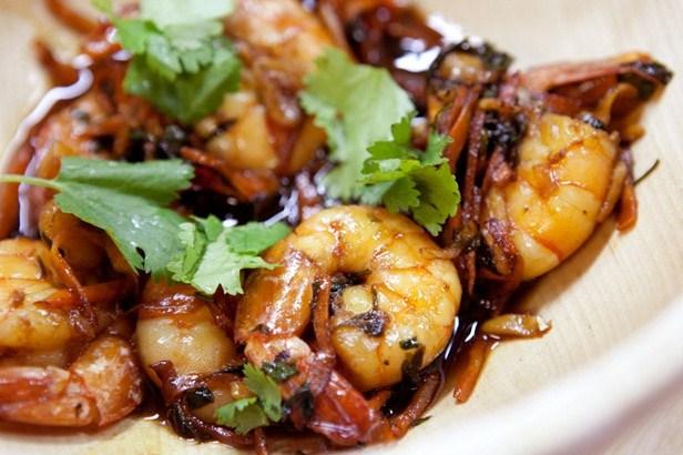 Вкусные креветки с имбирем