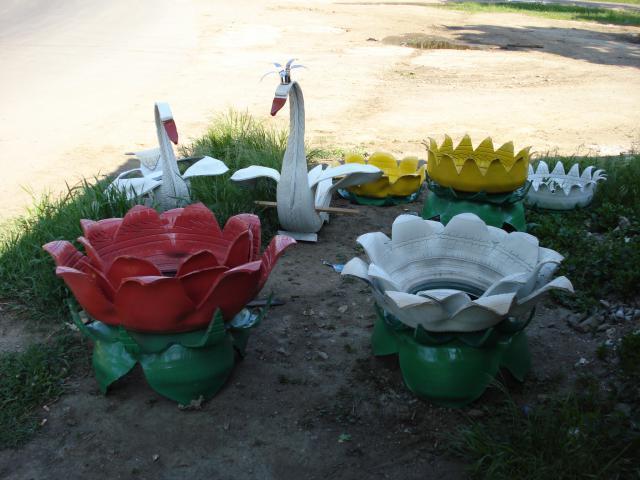 Изделия из покрышек своими руками для детского сада