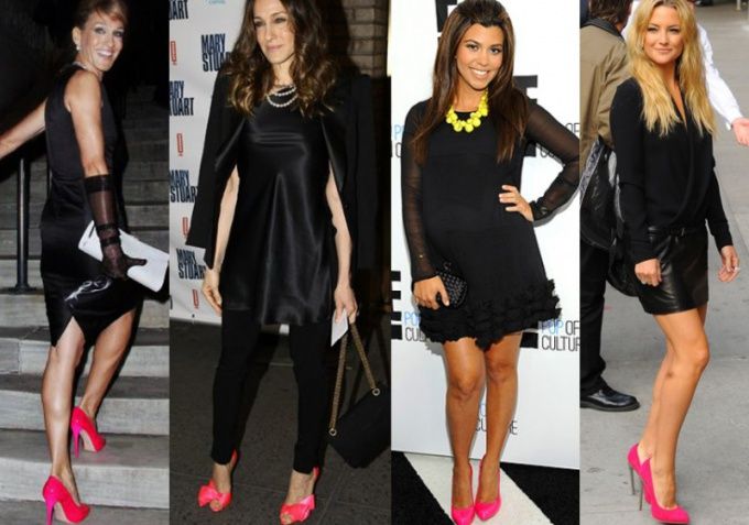 Чем дополнить черное платье и розовые туфли