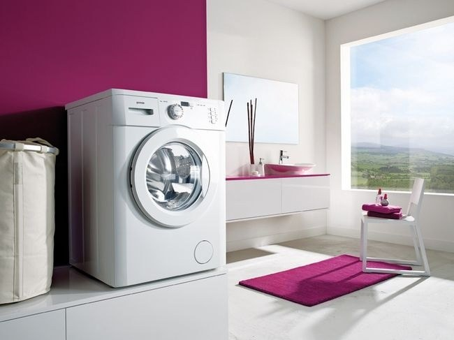 Full-sized washing machines may not pass in the doorway of the bathroom