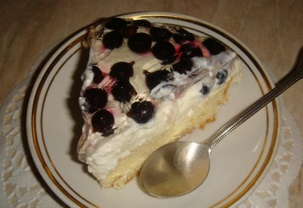 Смородиново-творожный желейный торт