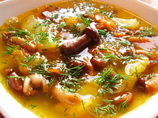 Сварить грибной суп с опятами