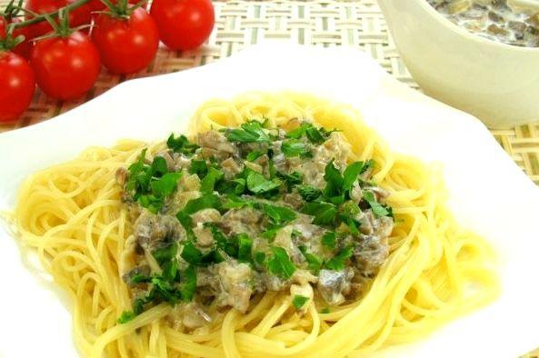 Ароматное и вкусное спагетти с грибным соусом