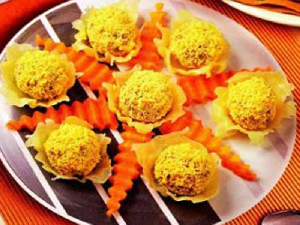 Шарики из печени в сырных корзинках