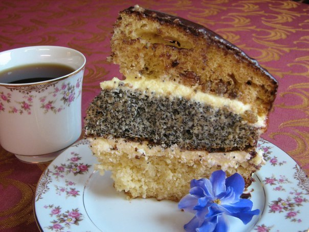 "Cake ""Fairytale"" with poppy seeds, nuts and raisins"