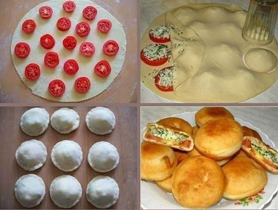 Пирожки с помидорами и твороженной начинкой