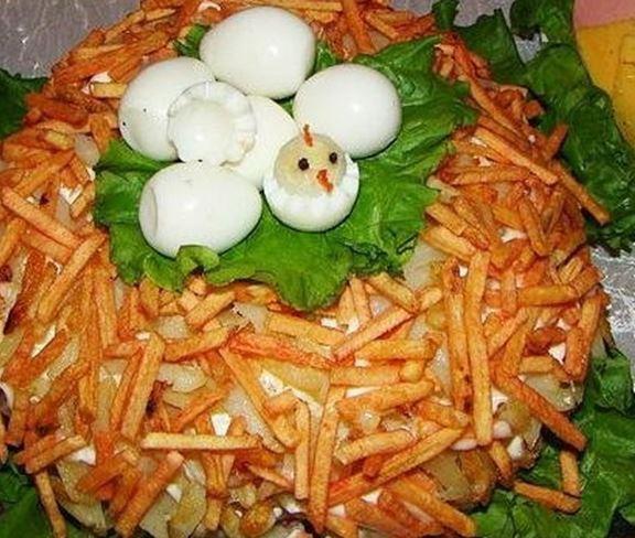 Салат «Вкусное гнездо»