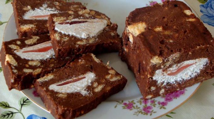 Как приготовить холодный торт с зефиром